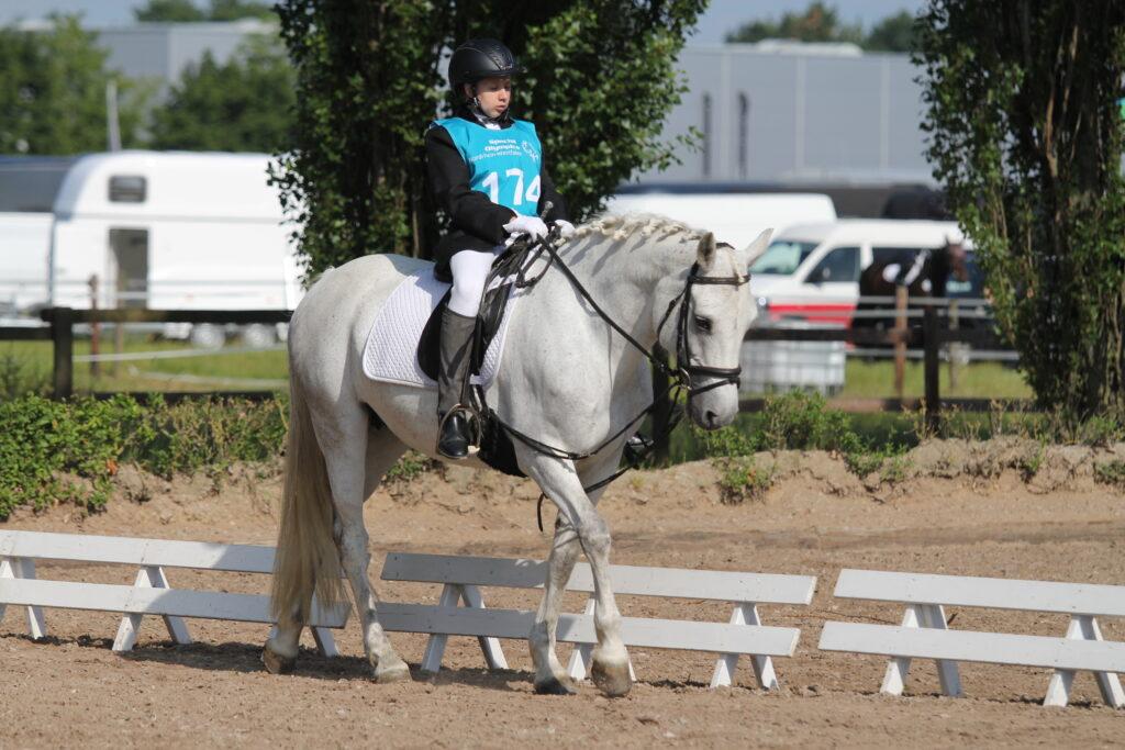 Reiterin auf einem weisen Pferd