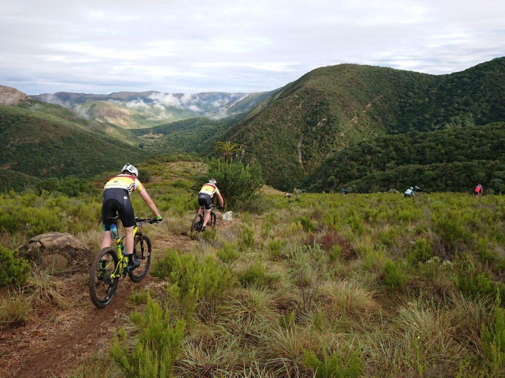Mountainbiker fahren auf einem schmalen Weg