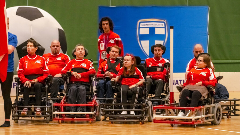 Das österreichische Nationalteam bei der E-Rolli Fußballeuropameisterschaft in Finnland.