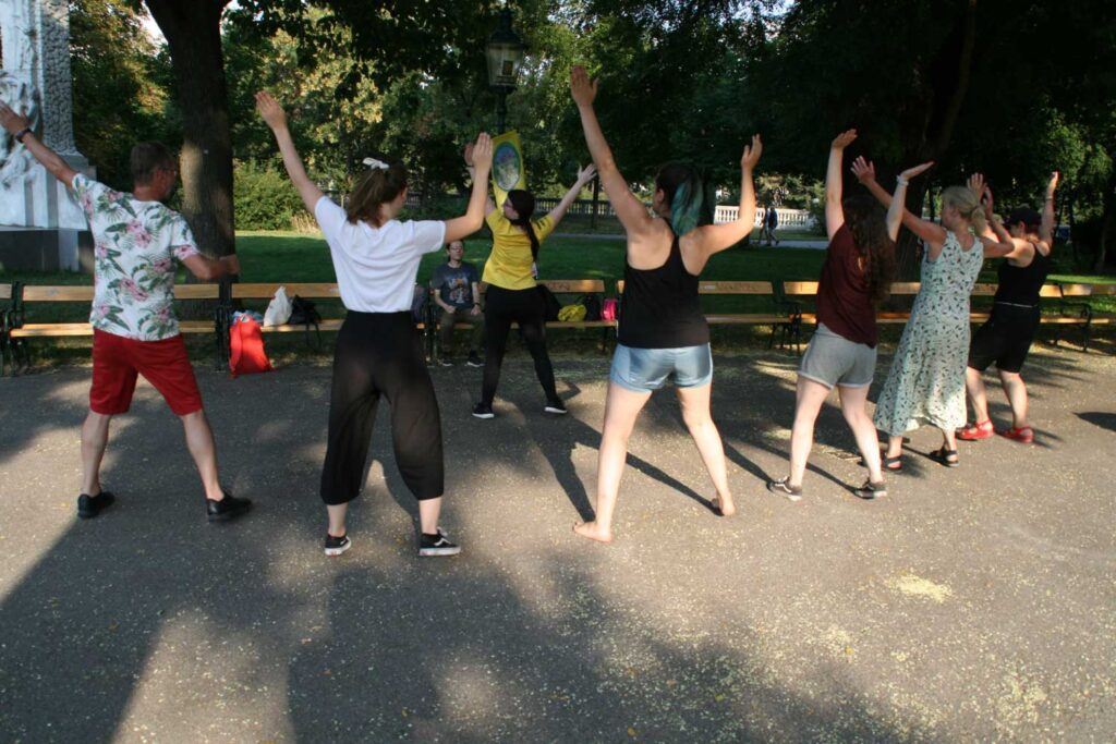 Ein Gruppe Menschen tanzt im Park