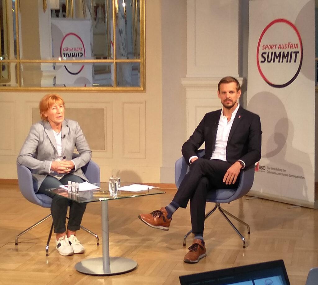 Christa Prets und Gottfried Rath-Zobernig beim Sport Austria Summit.