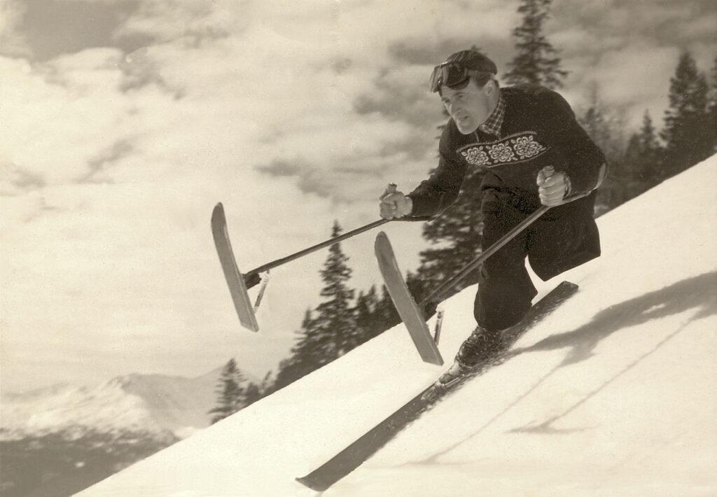 Der beinamputierte Erich Steiner beim Skifahren