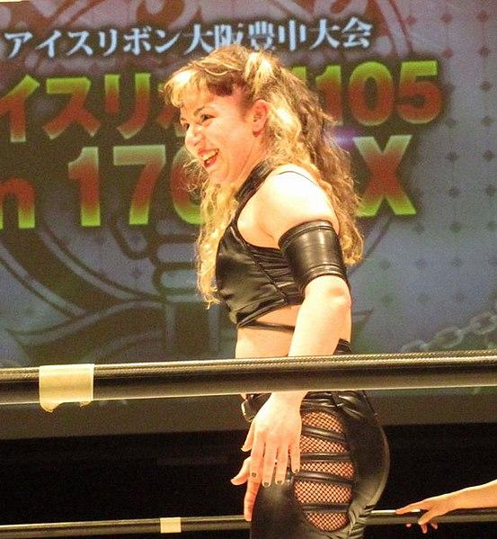 Die Wrestlerin Thekla bei einem Wettkampf in Osaka